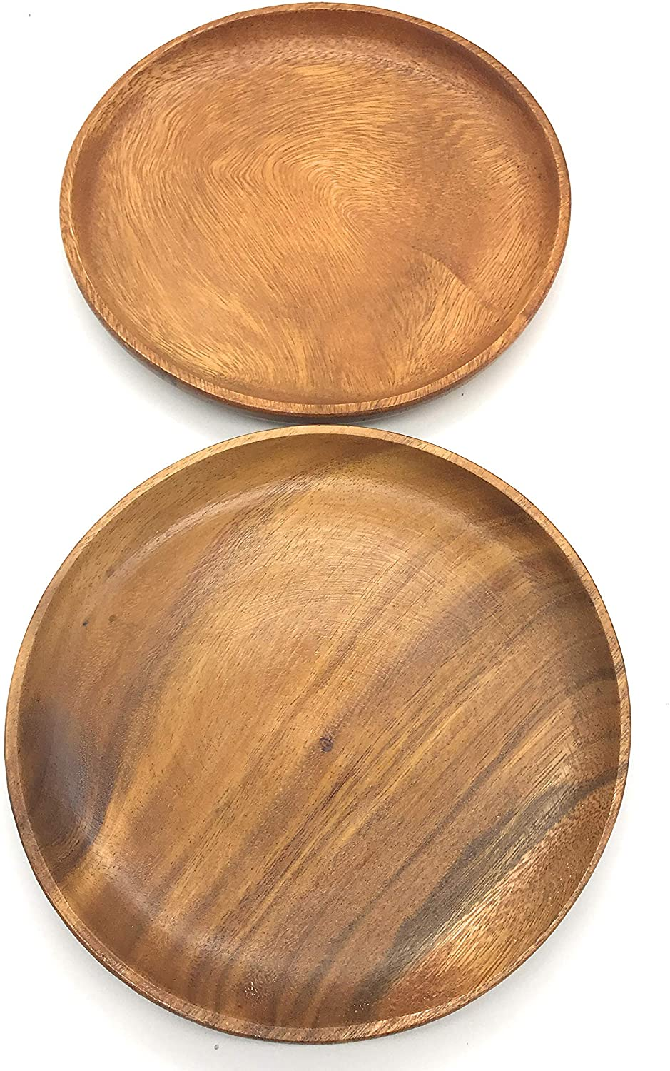 SDS Acacia Wood Plates Wooden Round Serving Tray Set of 2 Round Appetizer Plates 10 Inch