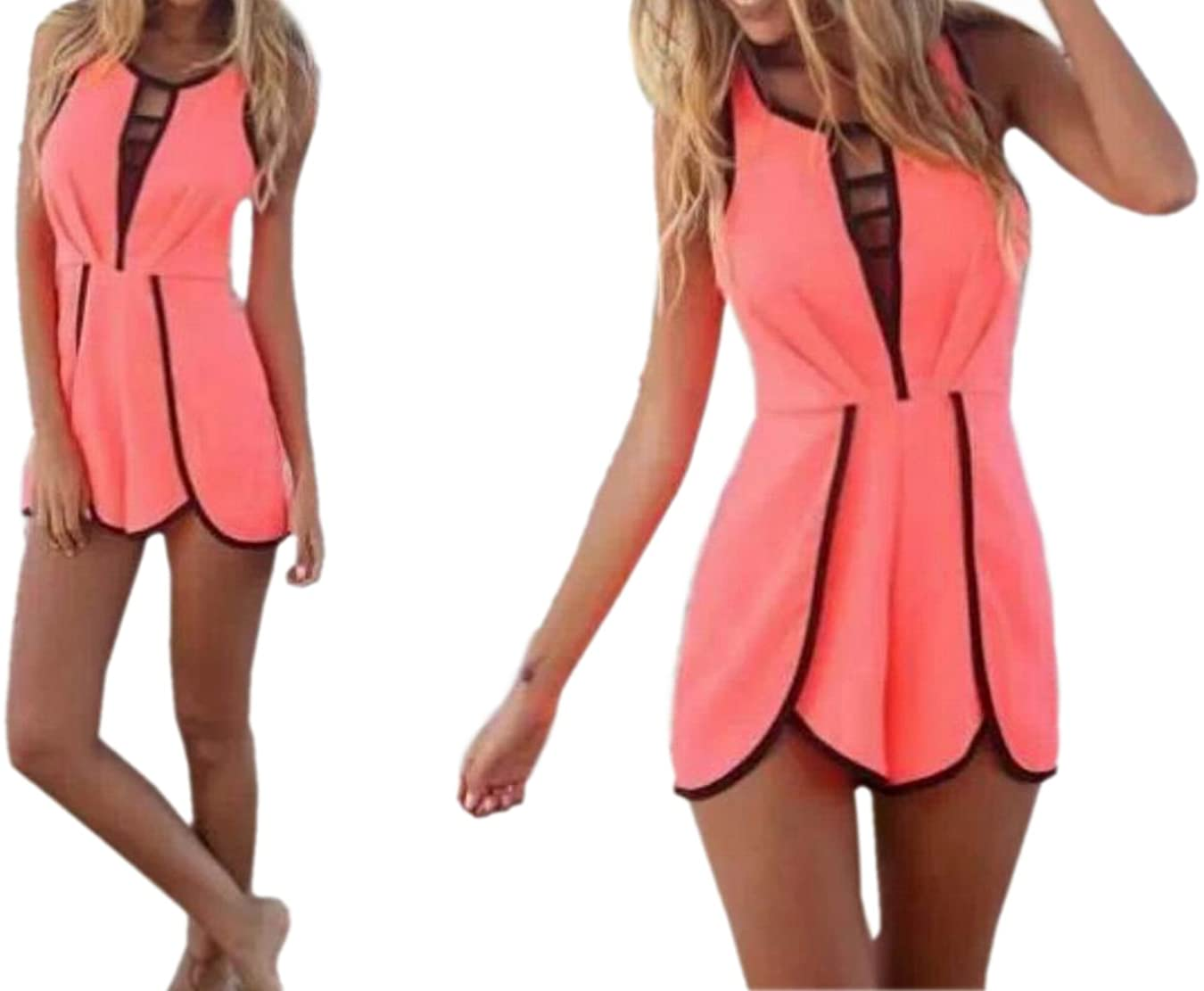 JJ-GOGO Women's Sleeveless Sexy Hollow Out Playsuit Casual Jumpsuit