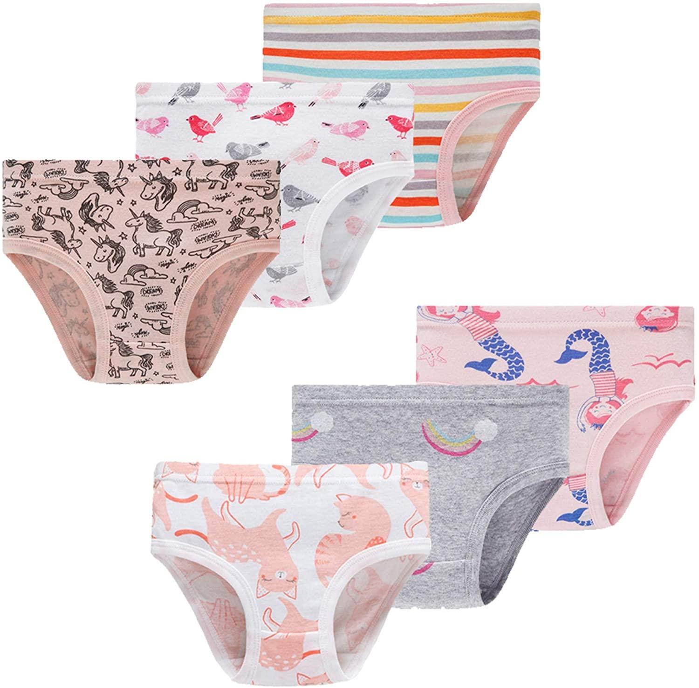 Little Girls Mermaid Underwear Kids Breathable Comfort Briefs Children Panties(Pack of 6)