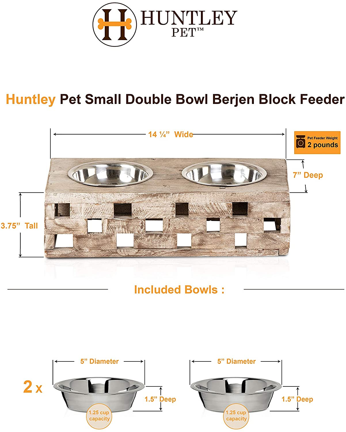 NewOne Huntley Pet Elevated Dog and Cat Double Bowl Feeder Stainless Steel Bowls