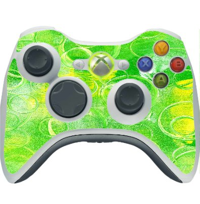 Bright Green Yellow Circles Vinyl Decal Sticker Skin by Moonlight Printing for Xbox 360 Wireless Controller
