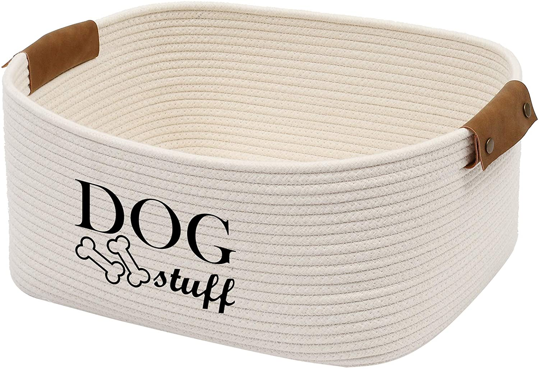 Geyecete Square Dog Toy Basket Storage Cotton Rope Storage Basket Pet/Pet Toy and Accessory Storage Bin Doy Toy Box