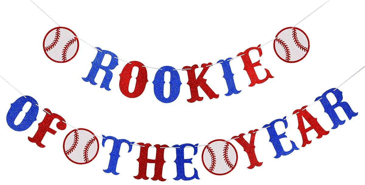 Glittery Rookie of The Year Banner- Baseballs Theme Kids Birthday Party Decorations- Boy Baseballs Theme Party Decor