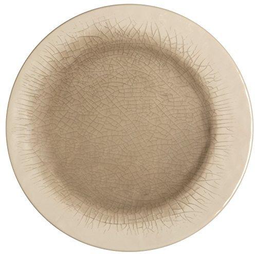 Melange 6-Piece 100% Melamine Salad Plate Set (Crackle Collection)   Shatter-Proof and Chip-Resistant Melamine Salad Plates   Color: Cement