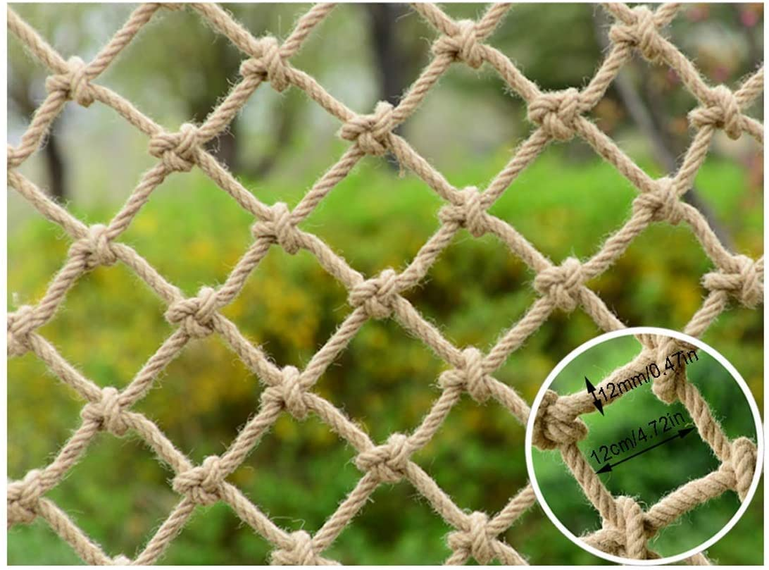 PLLP Safety Nets,Safety Net, Stair Balcony Anti-Fall Net Decoration Net Protective Net Hemp Rope Net Child Safe Net Retro Bar Ceiling Net Hanging Clothes Climbing Net Rope,1x6m