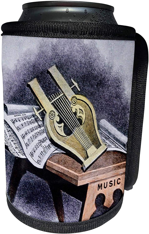 3dRose Scenes from the Past - Magic Lantern - Vintage Magic Lantern Masonic Lodge Freemasonry Lute and Music - Can Cooler Bottle Wrap (cc_300267_1)