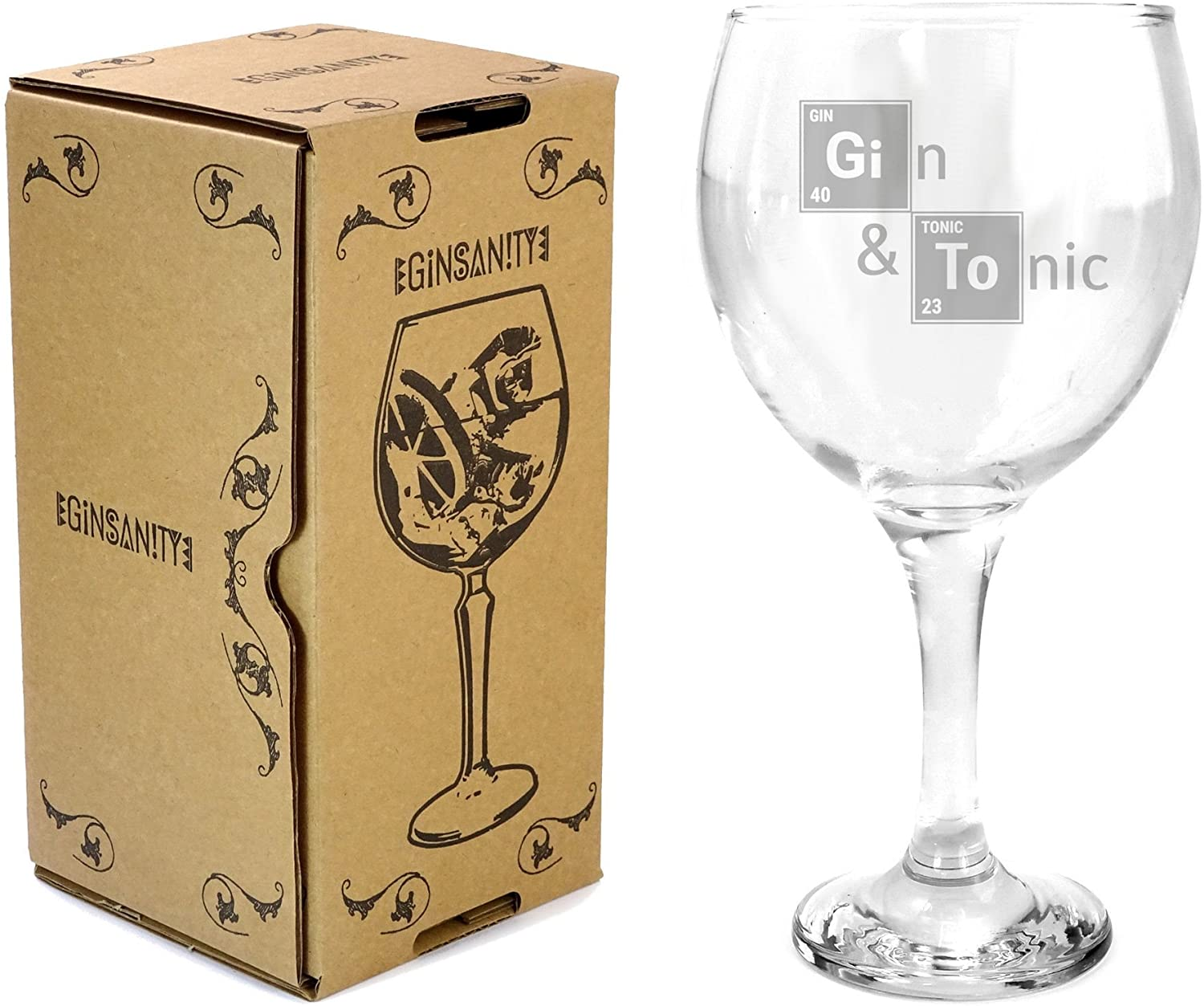 Ginsanity 22oz (645ml) Gin & Tonic Copa Balloon Cocktail Glass & Giftbox - Gin & Tonic Essential Elements
