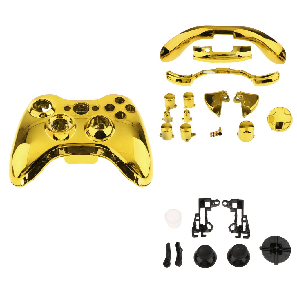 Fenteer Chrome Replacement Housing Shell Case Kit Set with Buttons for Xbox 360 Gold