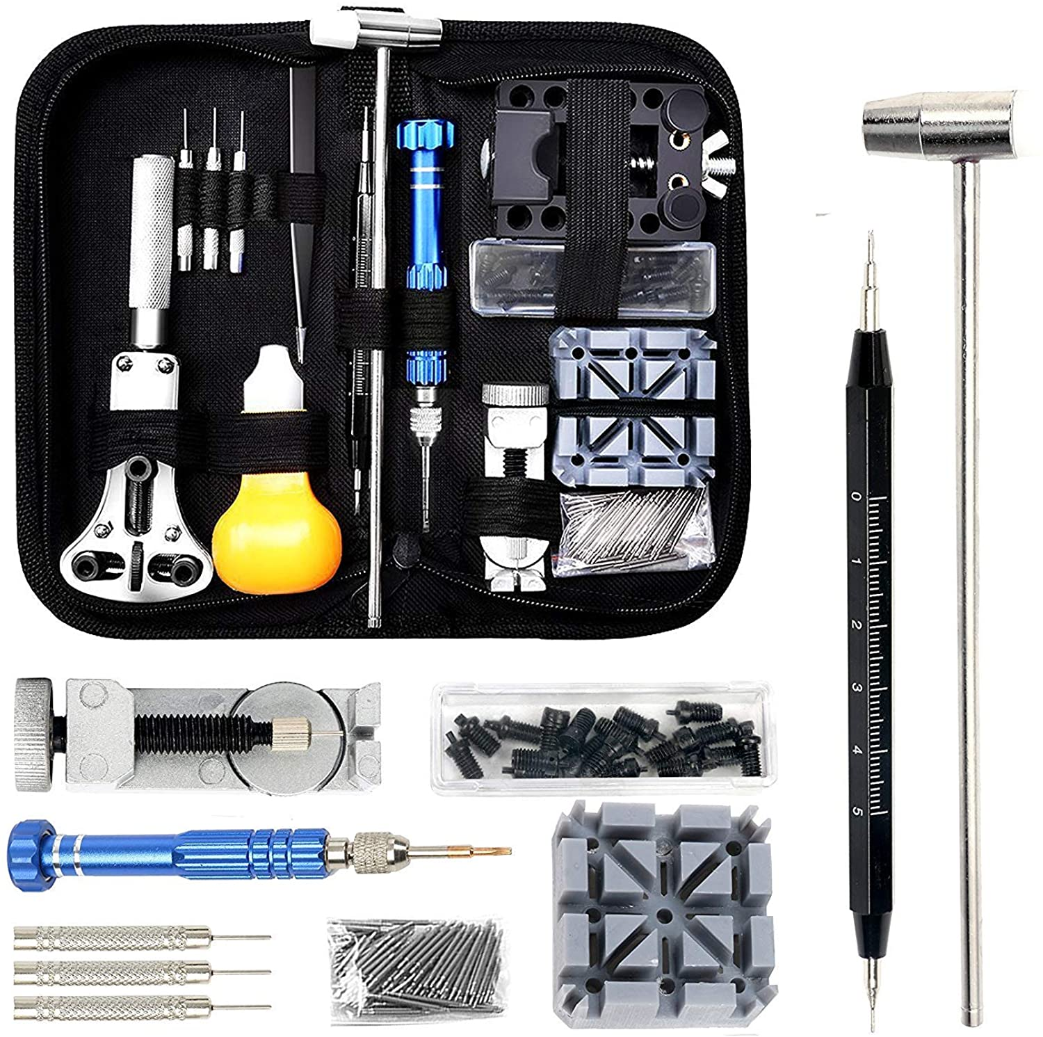 Watch Repair Set Professional Spring Bar Tool Set Watch Battery Replacement Tool Kit Watch Band Link Pins with Carrying Case