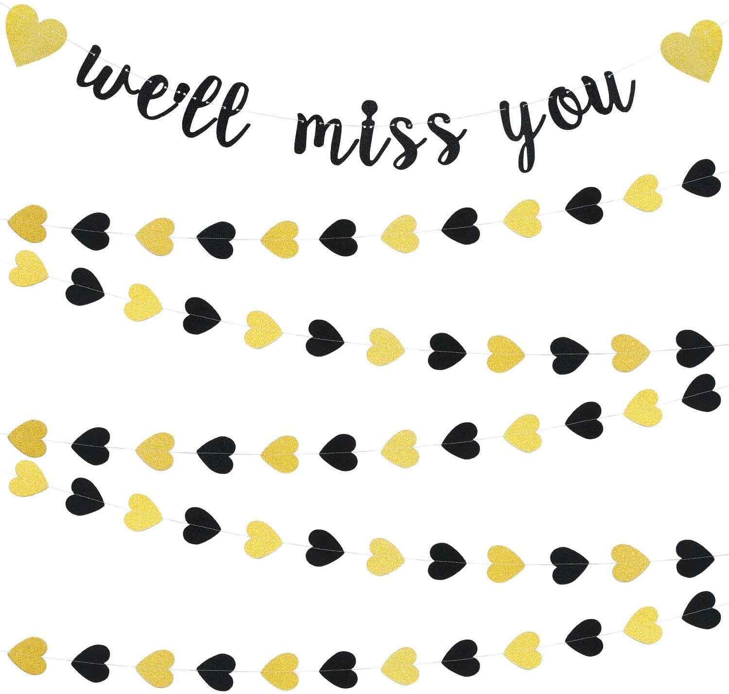 We'll Miss You Banner Decorations Glitter Gold Banners Farewell Banners for Retirement Graduation Going Away Office Work Party