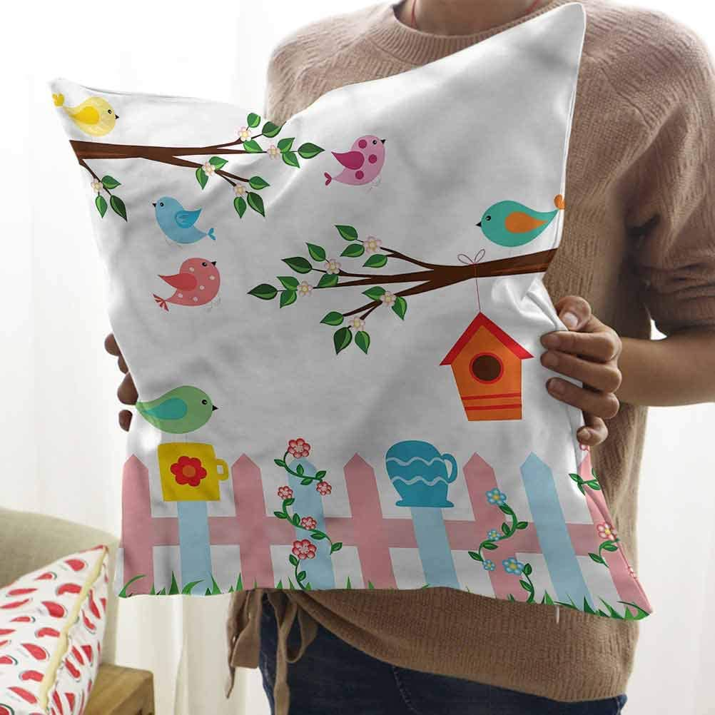 HouseLook Birds Cushion Cover Case Hanging Birdhouse Gardening Soft Cushion Covers with Hidden Zipper (24