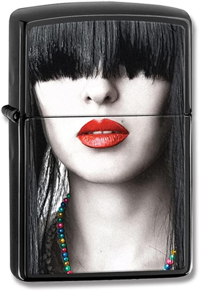 Zippo Ebony Red Lips Windproof Lighter
