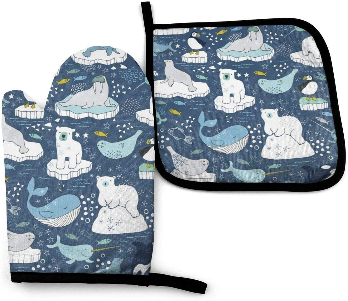 ~ Arctic Animal Icebergs Blue and Mustard Oven Mitt Pot Holders Sets,Insulation Gloves Non-Slip Surface for Safe Cooking Pot Baking Grilling Barbecue Etc Daily Needs