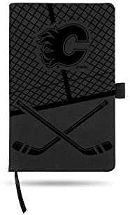 Rico Industries Flames Laser Engraved Black Notepad with Elastic Band