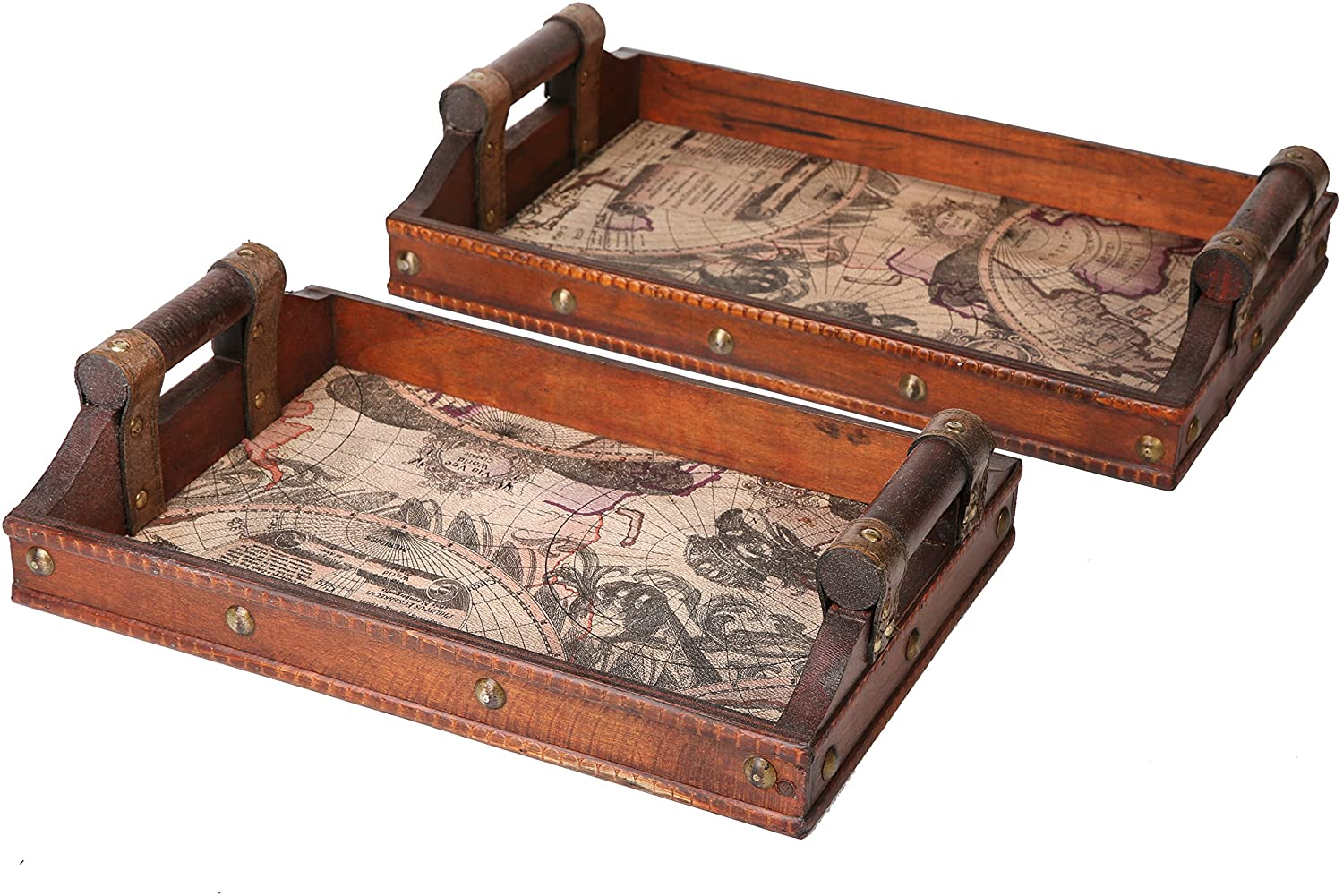 SLPR Decorative Worldly Wooden Serving Tray Set with Handles (Set of 2) | Coffee Table Organizer Travel Tray