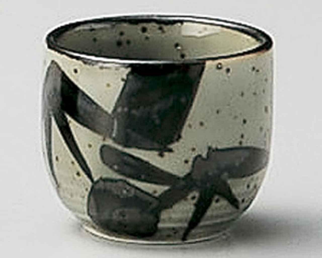 Mashiko Bamboo Leaf 2inch Sake Cup Grey porcelain Made in Japan