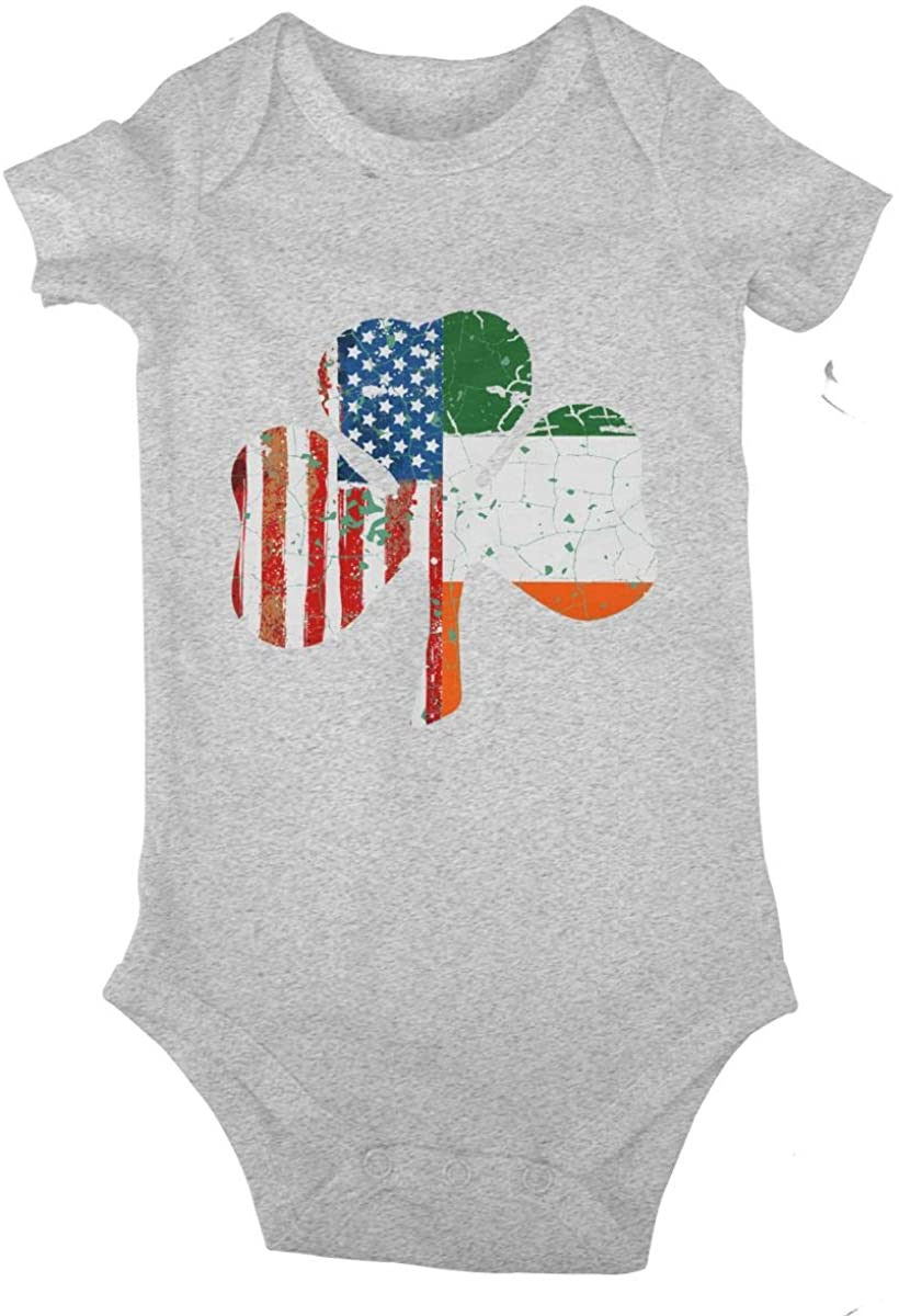 LzVong Ireland Shamrock USA Flag Cotton Baby Short Sleeve Bodysuits Jersey Rompers