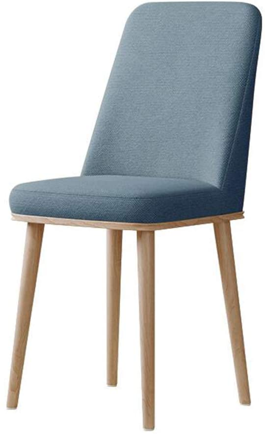 QQXX Chairs Soft Linen Seat, Back with Wooden Style Metal Legs, Dining Living Room Kitchen 5 Color (Color : Blue, Size : Wood Color Leg)