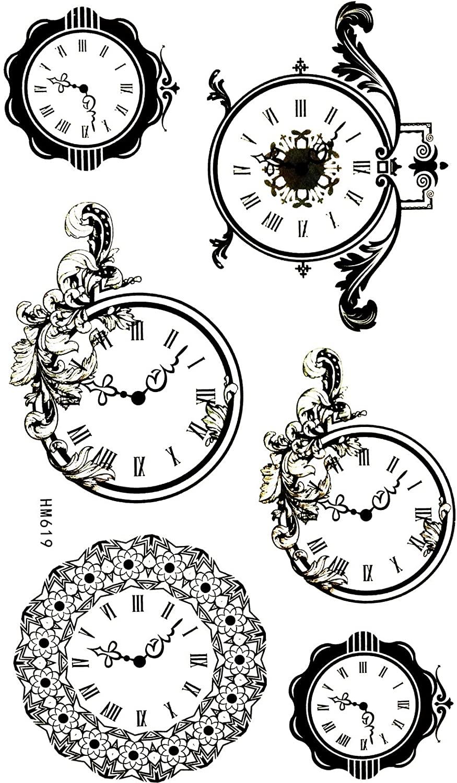 Wall Clock Fashion Wall Cute Flower Pattern 4X8 in MEGADEE Tattoo Sticker Body Arm Leg Body Art Beauty Makeup Cool Removable Waterproof Tattoo Sticker Great as Happy Gift (Tattoo Sticker 163)