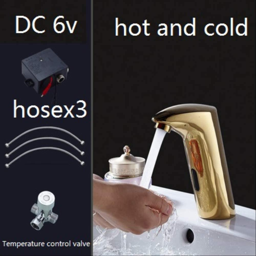 Brass Golden Integrated Type Automatic Sensor Faucet Bathroom Wash Basin Deck Mounted Touchless Infrared Faucet DC6v hot