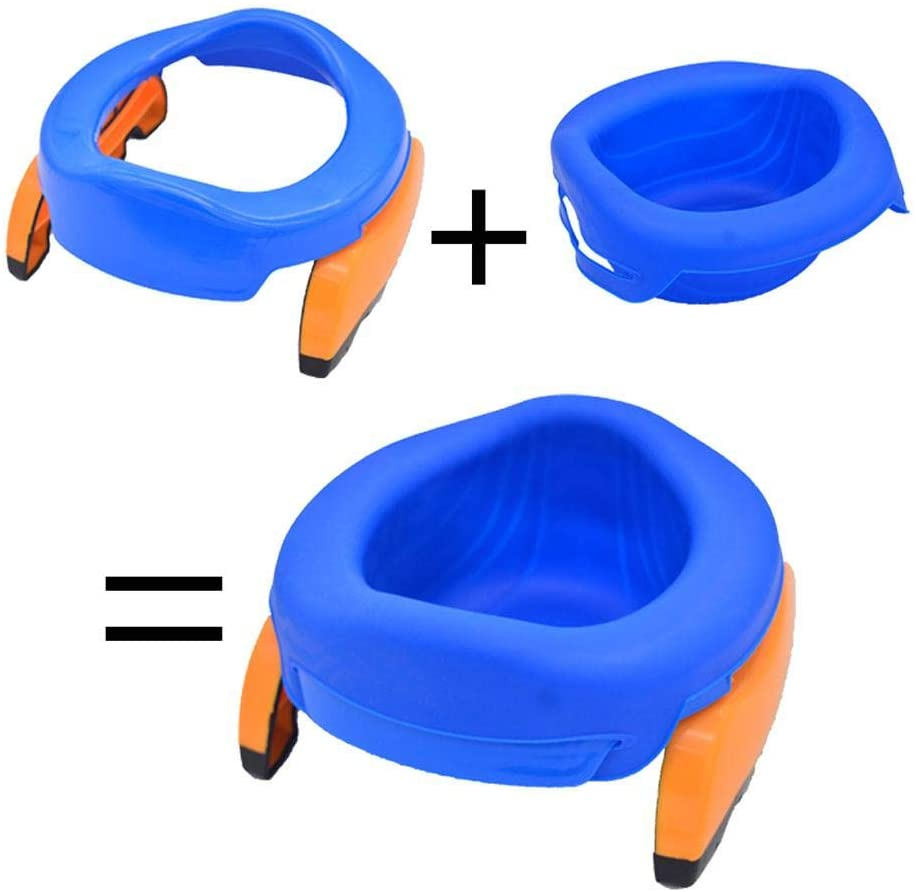 New Portable Toilet Car Potty-Toilet Training Seat 2 in 1 Portable Non-Slip Toilet Trainer with 10 Potty Liners Set