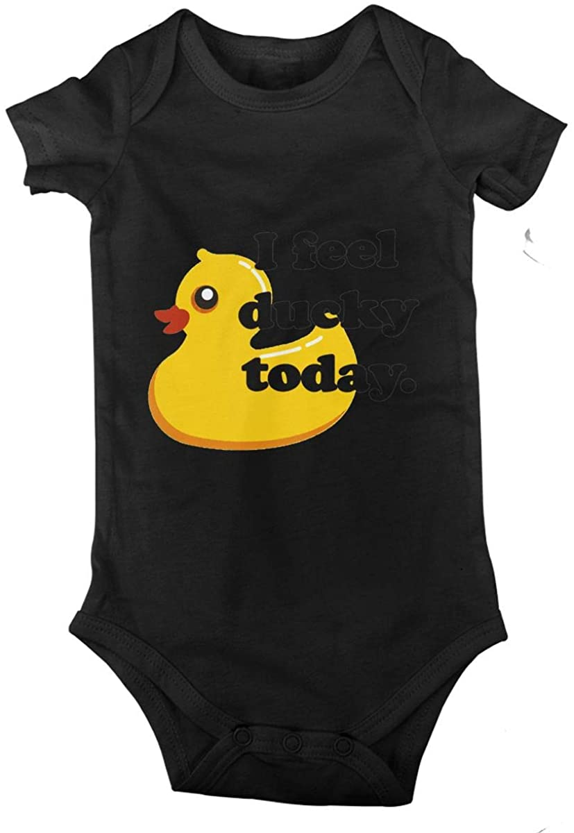 I Feel Ducky Today Cotton Baby Short Sleeve Bodysuits Jersey Rompers