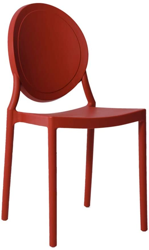 Modern Minimalist Plastic Backrest Chair Dining Chair Adult Creative Fashion Lounge Chair Cafe Chair Makeup Chair (Color : Red)