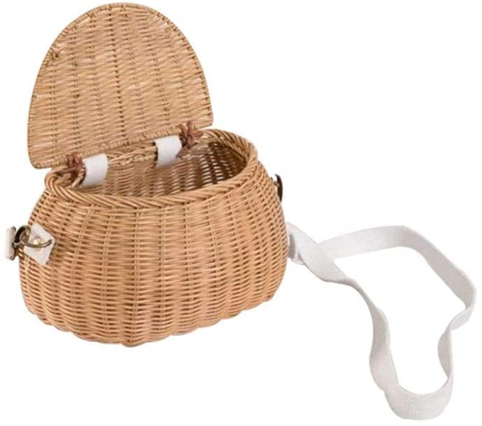 Earlyad Children's Small Back Basket Bicycle Basket Logs Handmade Rattan Toys Suitable for Camping, Photography, Posing, Traveling