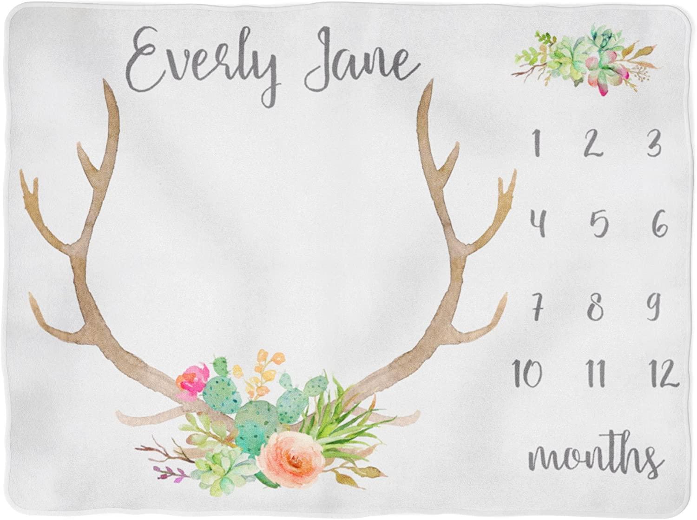 Sobilar Antler Milestone Blanket - Cactus - Flowers - Boho - Monthly Milestone Blanket - Girl