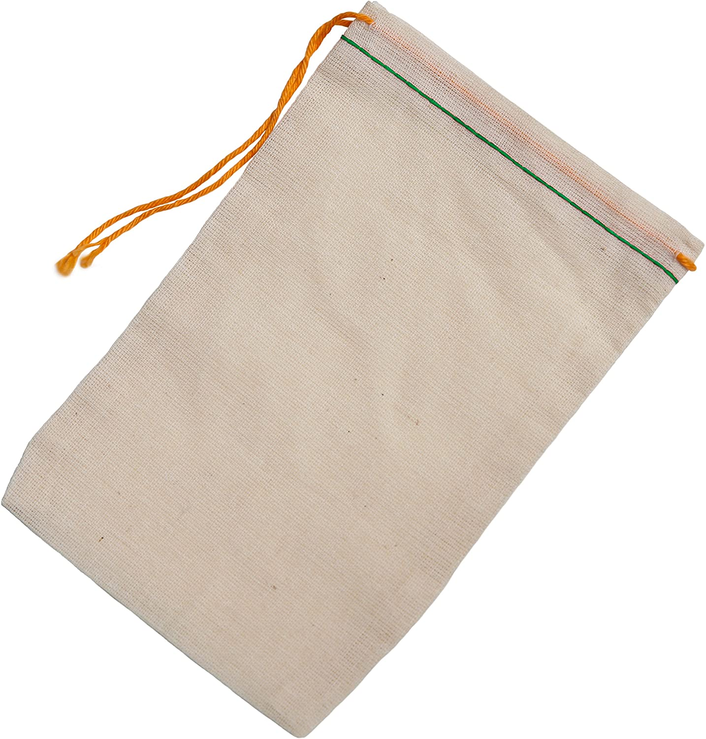 Cotton Muslin Bags 25 Count (2.75 x 3.75 inches) Green Hem Orange Drawstring, Made with 100% Cotton in The USA by Celestial Gifts