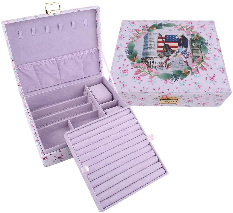 GUANYA Retro PU Leather Printing Two Layer Jewelry Box (Girl)