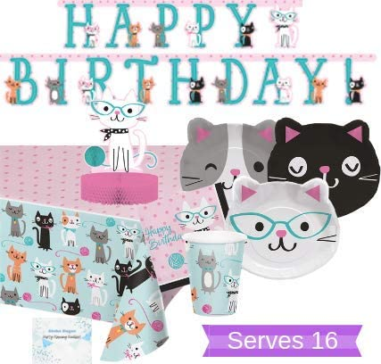 Aloha Sugar Cat Party Supplies and Decorations - Kitty Cat Plates Cups Napkins for 16 People - Includes Banner, Tablecloth and Centerpiece - Perfect Cat Birthday Party Decorations!