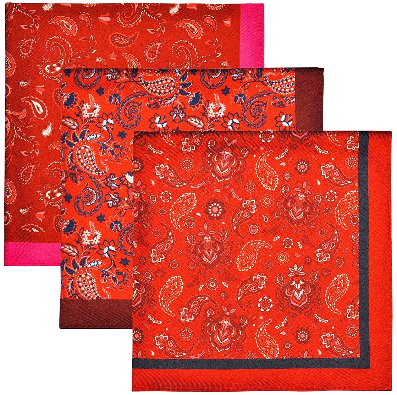 Retreez 3 Pieces Silk Like Satin Polyester Premium Pocket Square Gift Box Set