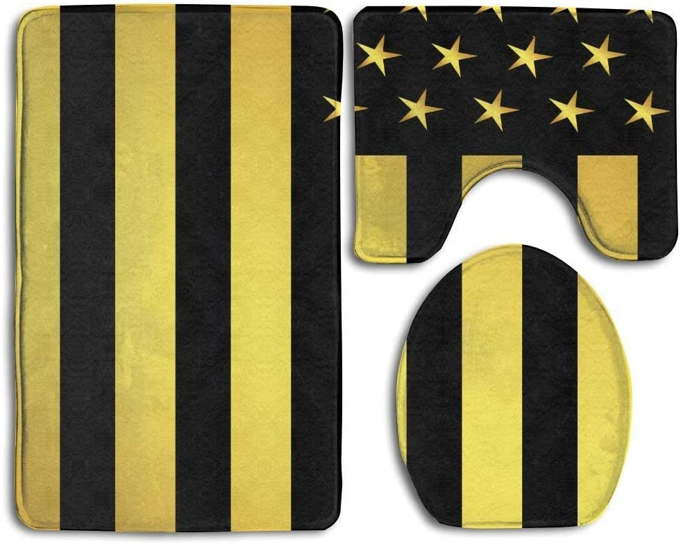 EnmindonglJHO American Flag Gold and Black 3pcs Set Rugs Skidproof Toilet Seat Cover Bath Mat Lid Cover Cushions Pads
