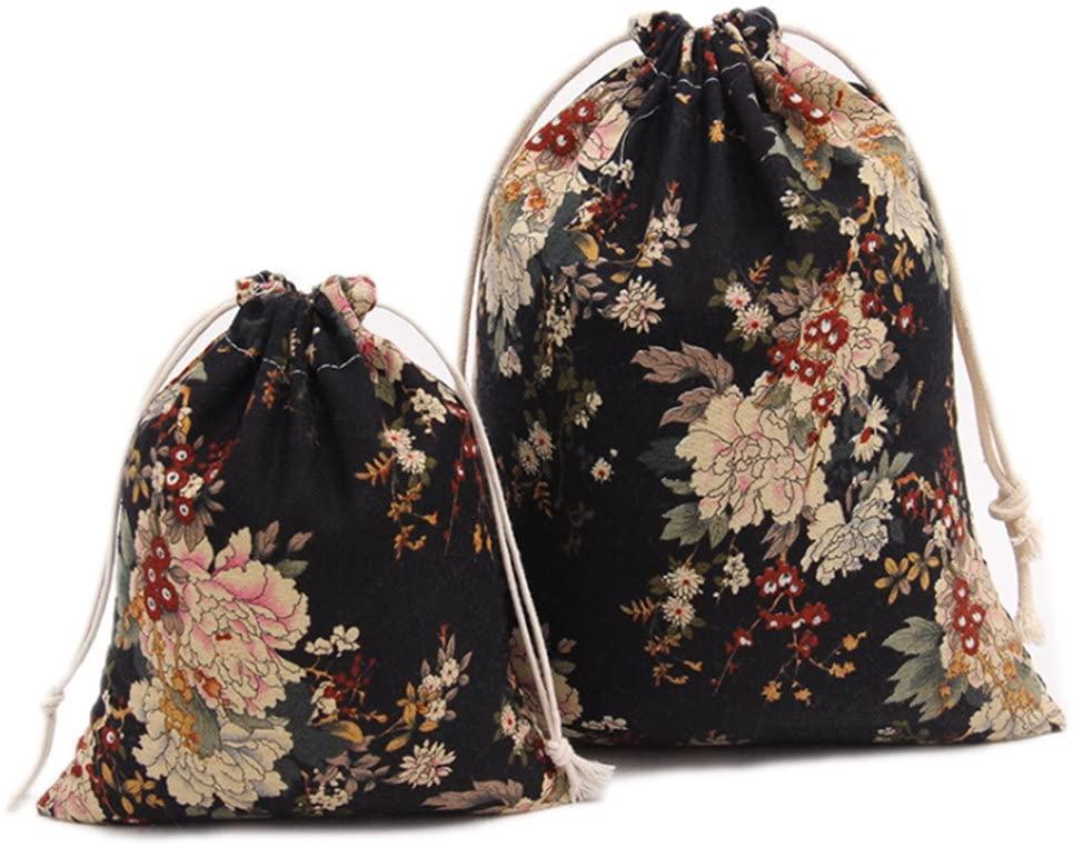 Riverer Floral Pattern Gift Bags with Drawstring Packing Jewelry Pouches for Wedding Party 12 pcs, 7.5x9.4 Inches
