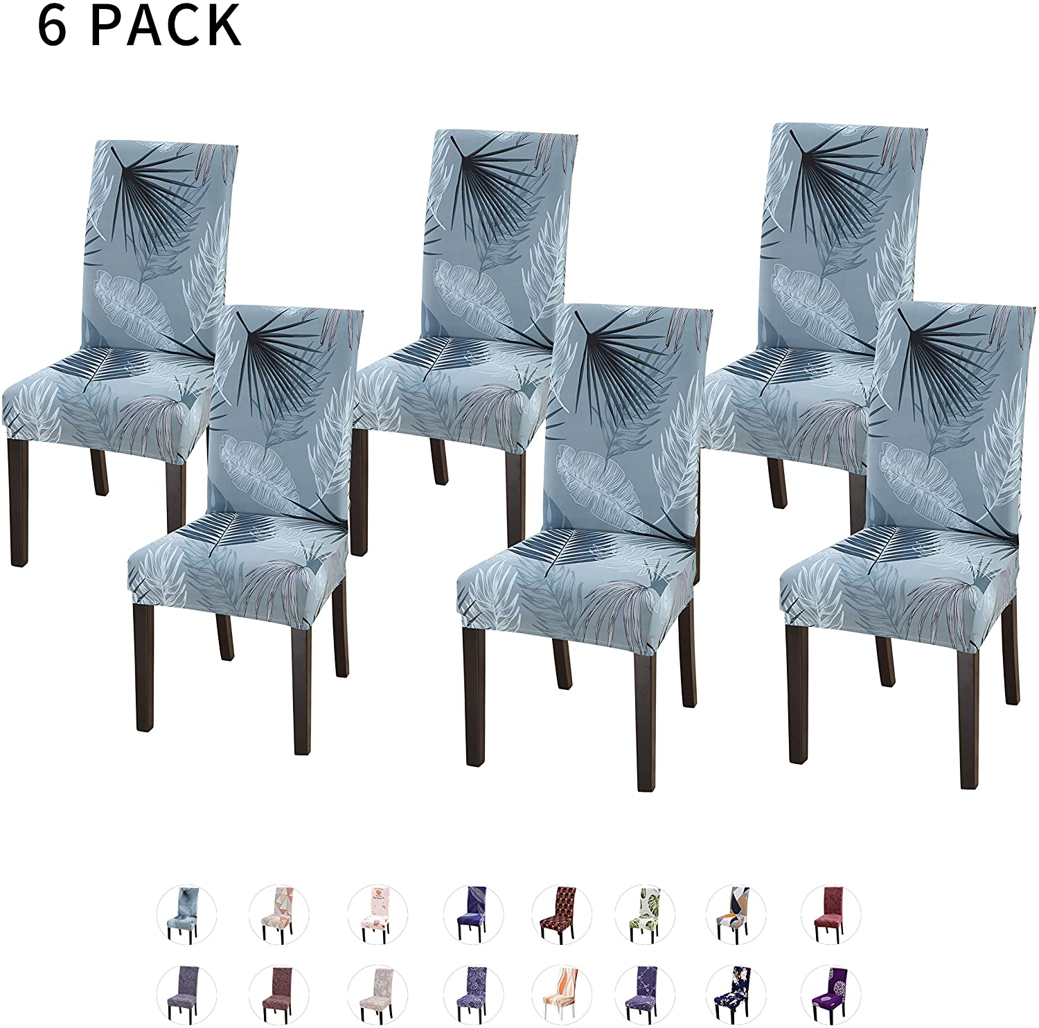 HOTNIU Spandex Fabric Patterned Dining Chair Slipcover - Removable Universal Stretch Elastic Chair Covers - Super Fit Kitchen Chair Protector Cover (6 Pack, BX)