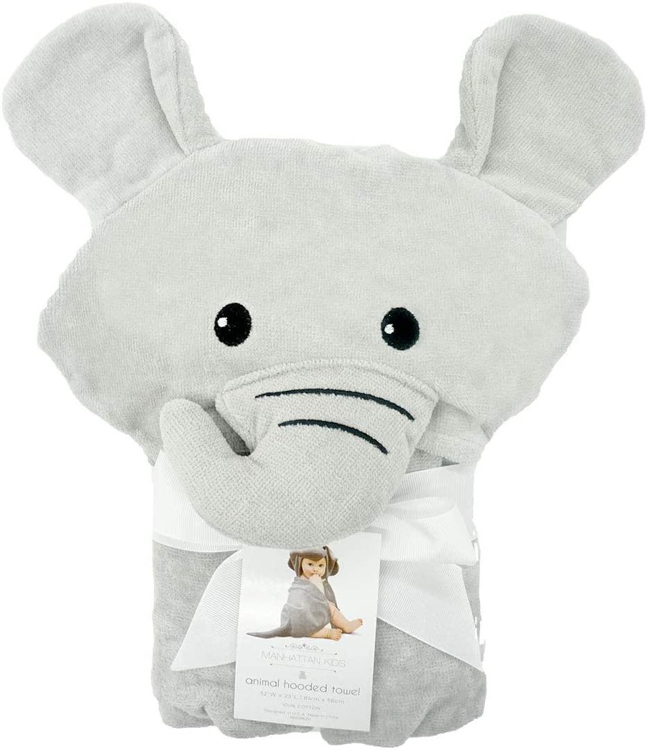 Manhattan Kids Baby Boy or Baby Girl Super Soft - Grey Elephant Terry Cotton Hooded Towel.