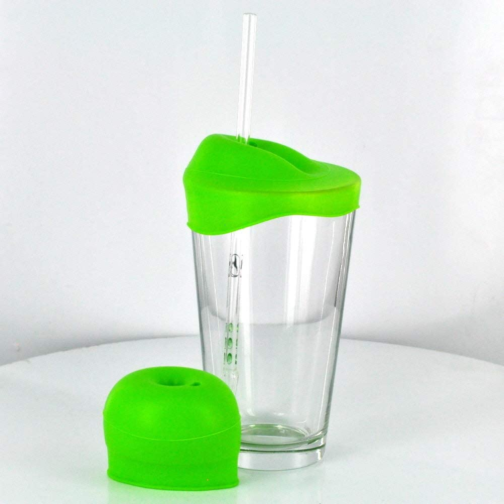Stretchy Silicone Cup Cover w/Straw Hole (Great For Kids!)