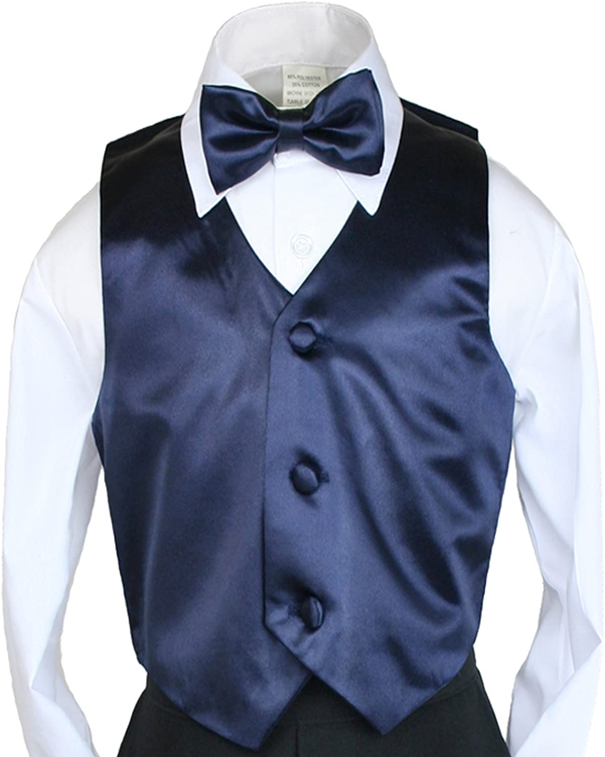 New 2pc Boys Satin Navy Vest and Bow tie Set from Baby to Teen