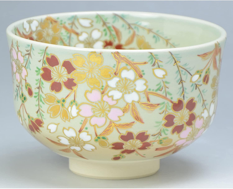 Kiyomizu-kyo yaki ware. Japanese Matcha chawan teabowl Yanagi ni sakura with wooden box. Ceramic. kymz-TJY457