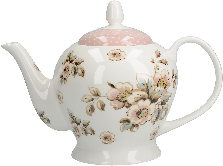 Katie Alice Cottage Flower-Large Six Cup Cream Porcelain Tea Pot, Multicolour