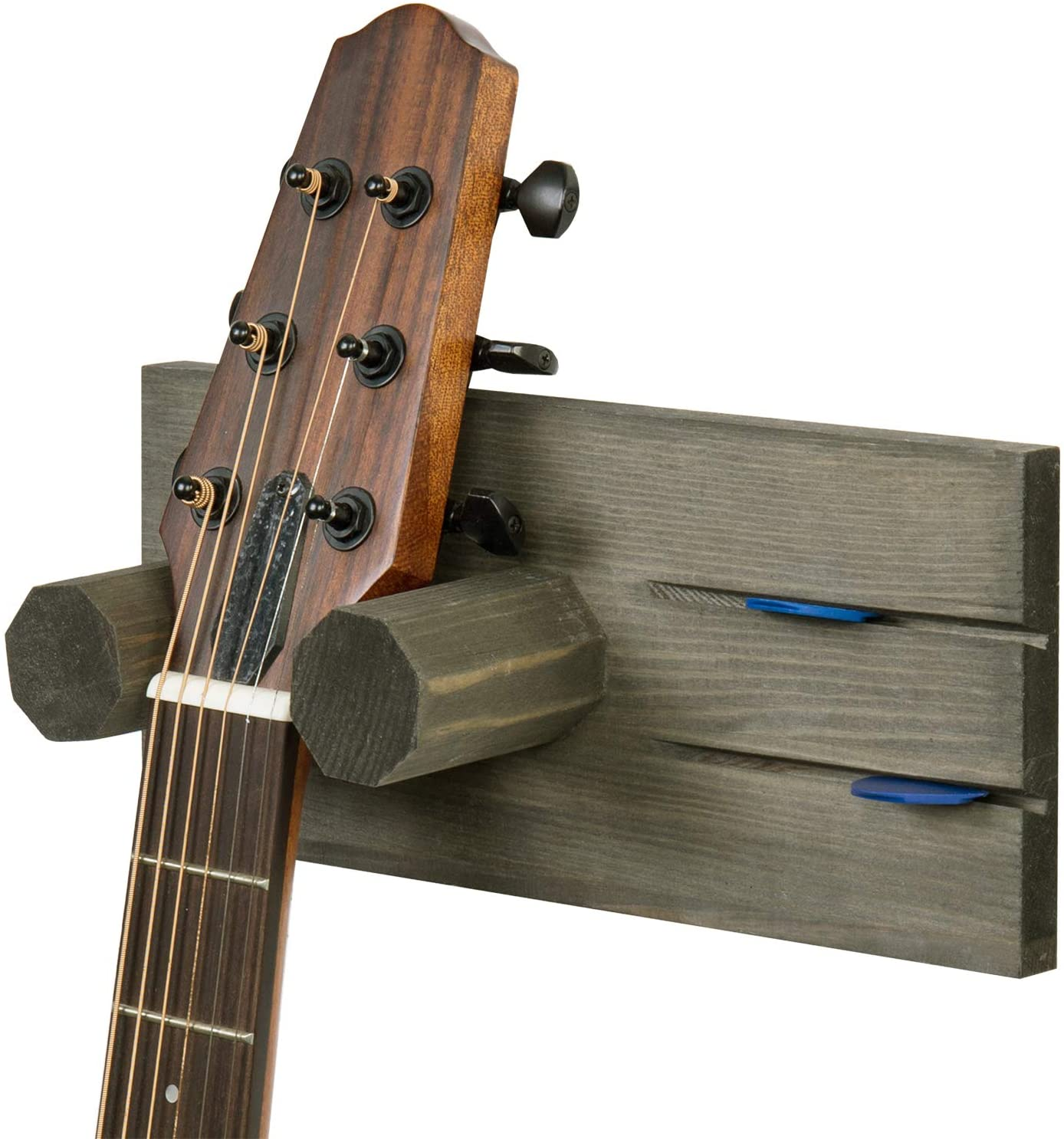 MyGift Vintage Gray Solid Wood Wall Mounted Guitar Hanging Storage & Display Rack with Pick Holders