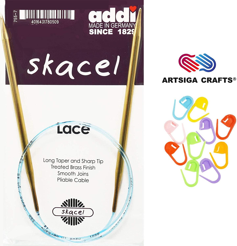 addi Knitting Needles Circular Lace Brass Blue Cord 40 inch (100cm) US 13 (9.0mm) Bundle with 10 Artsiga Crafts Stitch Markers