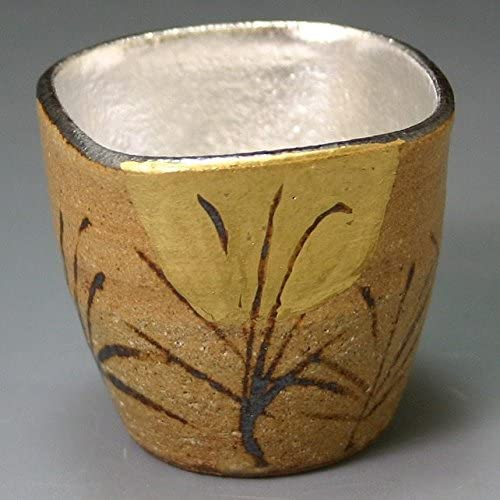 Kiyomizu-kyo yaki ware. Japanese Sake guinomi cup Silver shugetsu with wooden box. Ceramic. kymz-GMV078