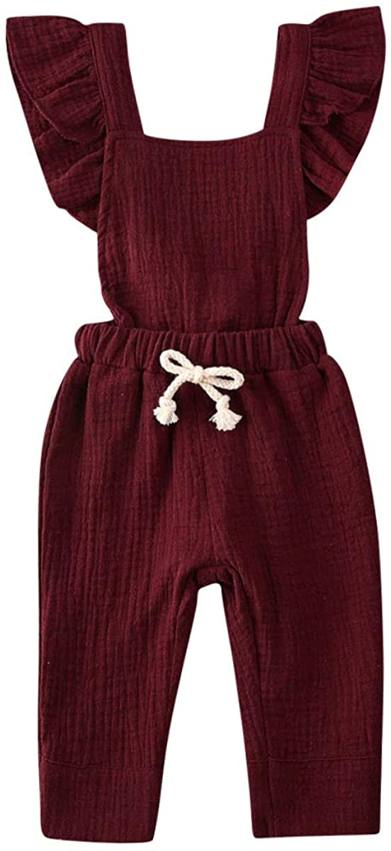 woshilaocai Newborn Infant Baby Girl Romper Ruffle Sleeveless Jumpsuit Overall Playsuit Clothes Outfits