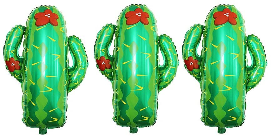 GOER Cactus Giant Foil Balloons,3 Pcs 30 Inch Balloons for Western Cowboy Theme Birthday Party and Mexican Themed Party