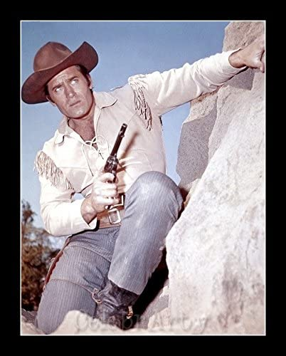 8 x 10 All Wood Framed Photo Clint Walker In Cheyenne