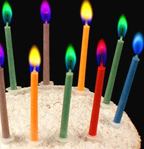 Birthday Cake Candles with Cake Topper Happy Birthday Candles Colorful Flamed Candles with Candle Holders Included (12, Medium)