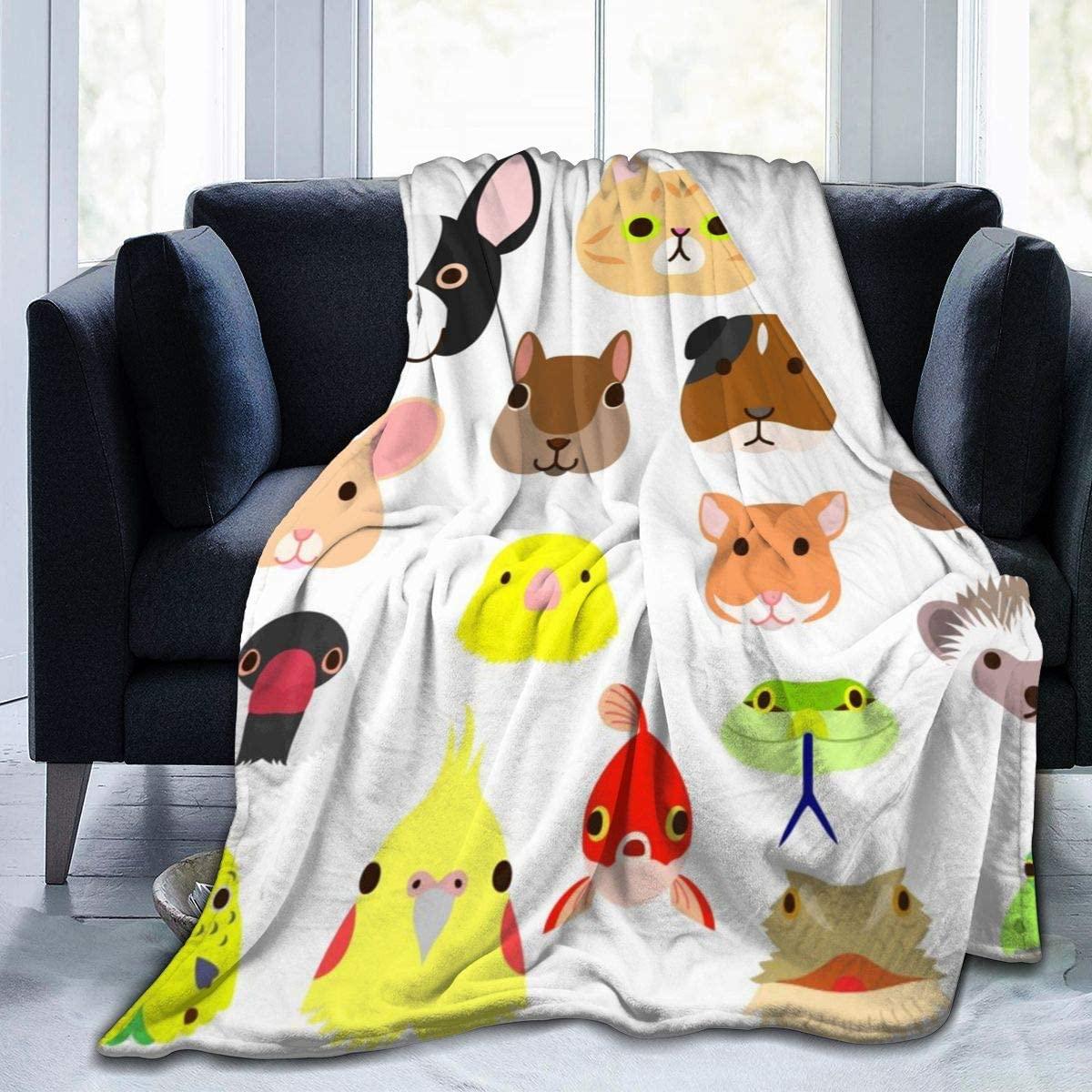Micro Fleece Plush Soft Baby Blanket Pet Animals Faces Colorful Set Fluffy Warm Toddler Bed/Crib Blanket Lightweight Flannel Daycare Nap Kids Sleeping Tummy Time Throw Blanket Girls Boy Kid/Baby