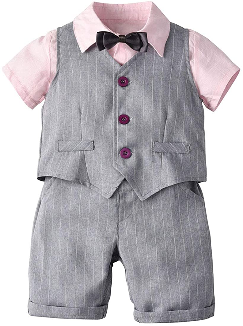Mornyray Toddler Baby Boys Formal Outfit Set Kids Gentleman Tuxedo Suit for Wedding